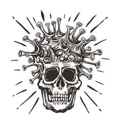 covid-19 - virus - human skull hand drawn black vector image