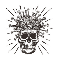 covid19-19 - virus - human skull hand drawn black vector image