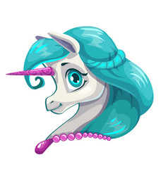 Cute cartoon little unicorn face vector
