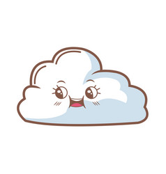 cute cloud kawaii face cartoon emoticon vector image