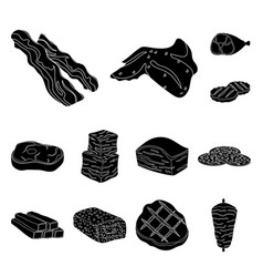 different meat black icons in set collection for vector image