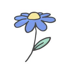 doodle flower hand drawn color sketch flower vector image