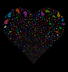 Ear fireworks heart vector