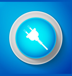 electric plug icon isolated on blue background vector image