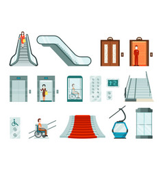 elevators and lifts set wheelchair lifts electric vector image