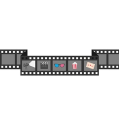 Film strip icon set Popcorn clapper board 3D vector