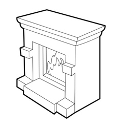 Fireplace icon isometric 3d style vector