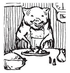 Five little pigs vintage vector