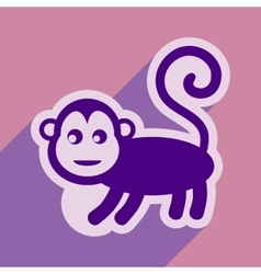 Flat icon with long shadow monkey with bananas vector