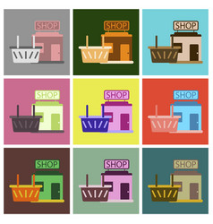 Flat icons set shop basket vector