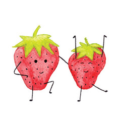 funny watercolor strawberry character isolated vector image