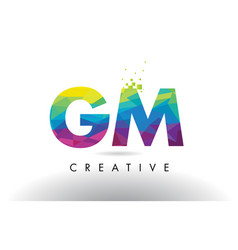 gm g m colorful letter origami triangles design vector image