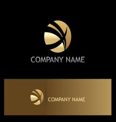 Gold round letter x business logo vector