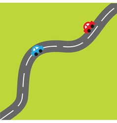 Green background with road and cartoon cars vector image
