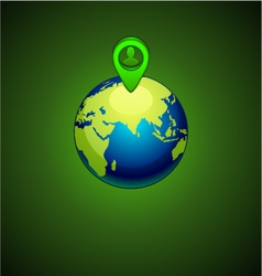 green earth with a pins location person vector image