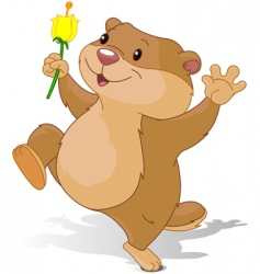 groundhog dancing with first flower vector image