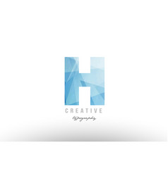 H blue polygonal alphabet letter logo icon design vector