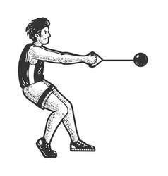 Hammer throw athlete sketch vector