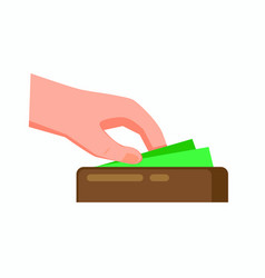hand taking cash money from wallet flat vector image