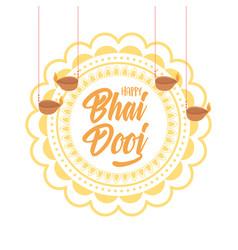 happy bhai dooj indian family celebration floral vector image