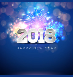 Happy new year 2018 with firework vector