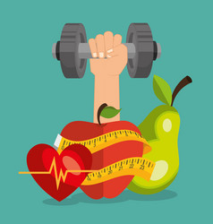 Healthy food and fitness icons vector