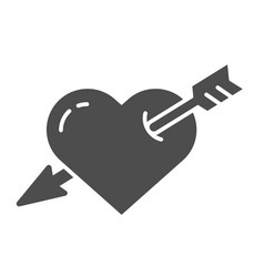 Heart pierced with arrow solid icon love vector