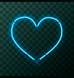 heart-shaped bright blue neon frame template vector image