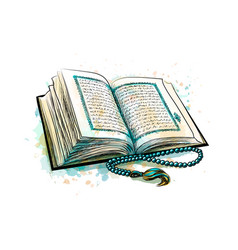 Holy book koran with rosary from splash vector