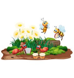 Insect musical band playing in nature vector