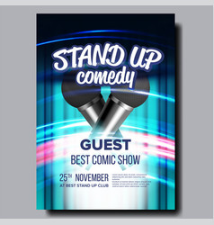invitation poster on stand up concert show vector image