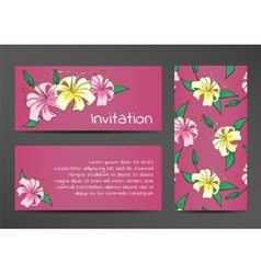 Invitation template with lily flowers on lilac vector