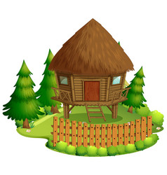 Isolated hut in nature on white background vector