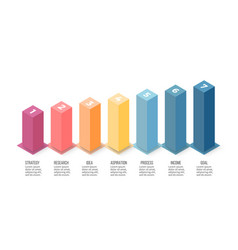 Isometric infographics bar chart graph with 7 vector