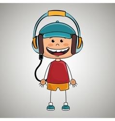 kid headphones music icon vector image