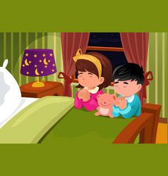 kids praying before going to bed vector image