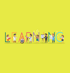 Learning banner educational concept laboratory vector