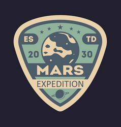 Martian expedition vintage isolated label vector