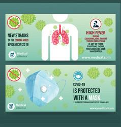 Medical twitter ad design with mask coronavirus vector