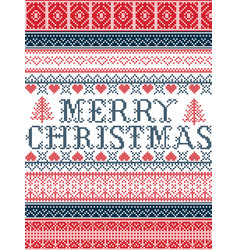 Merry christmas nordic style seamless chris vector