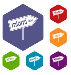 Miami arrow post sign icons set vector