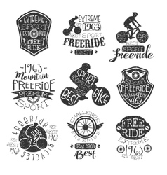 Mountain bike vintage stamp collection vector