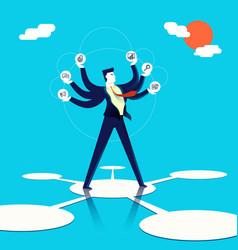 Multitasking businessman concept art vector