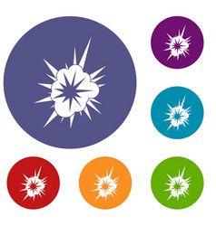 Nucleate explosion icons set vector