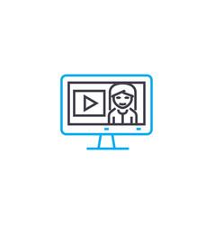 online seminars thin line stroke icon vector image