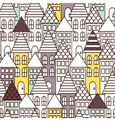 Partially colored outline town seamless pattern vector