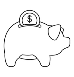 Pig money box icon outline style vector