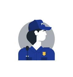 Police officer side view turned head woman in vector image