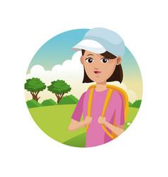 Portrait young girl pink tshirt rucksack cap vector