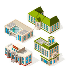 School buildings isometric 3d pictures of vector